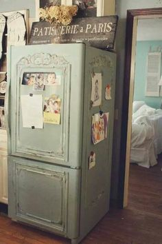 DIY - painting and adding shabby country details to a fridge. ...
