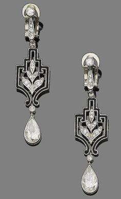 Ephemeral Elegance | Diamond and Enamel Earrings, ca. 1925 via Bonhams