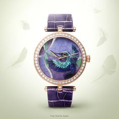 Watches&Wonders 2015 - The Poetry of Time™ by Van Cleef & Arpels. Lady Arpels Colibri Indigo watch -pink and white gold, diamonds, miniature feather art. Evoking a positive vision of life, a hummingbird is flying over a flower in diamonds and hard stone marquetry.