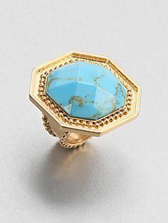 STEPHANIE KANTIS Button Ring - Turquoise