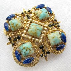 Gorgeous Numbered Blue Art Glass Brooch With Crystals and Faux Pearls from Vintage Jewelry Girl! #vintagejewelry #vintagebrooch