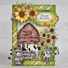 Heartfelt Creations - Farm Friends Special Birthday, Happy Birthday, The Barnyard, Birthday Sentiments, Card Making Tutorials, Farm Yard, Heartfelt Creations, Flower Shape, Greeting Cards Handmade