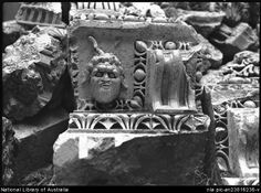Hurley, Frank, 1885-1962. Details of adornment Baalbek, Syria [bearded head sculpted in relief] [picture] : [Lebanon, World War II]