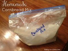 This homemade cornbread mix is so good! It is very easy to make and doesn't take much time at all! If you like cornbread but have never made it homemade then you have to try this recipe! Make your own diy cornbread mix! Best Cornbread Mix, How To Make Cornbread, Homemade Cornbread, Cornbread Recipes, Jiffy Cornbread, Snack Recipes, Cooking Recipes, Muffin Recipes, Yummy Recipes