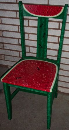 (link) DIY - It's About Art and Design: Watermelon with Ants Painted Wooden Chair Directions