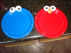 Cookie Monster and Elmo plates for my son's 2nd birthday
