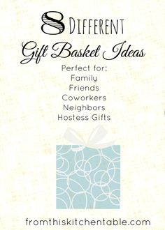 Awesome list of Gift Basket ideas! Perfect for family, friends, coworkers, and neighbors. Can use this for Christmas or birthdays!