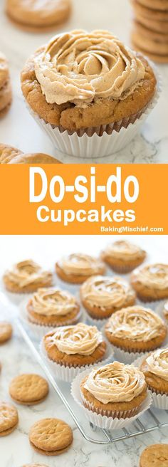 Do-si-do Cupcakes - Intensely peanut buttery cupcakes topped with peanut butter buttercream. Recipe includes nutritional information and small-batch instructions. From http://BakingMischief.com