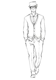 Men's Fashion Illustration by Alena Lavdovskaya legs are too short in proportion to neck and body. Fashion Illustration Template, Fashion Sketch Template, Illustration Mode, Fashion Templates, Fashion Illustration Men, Fashion Sketchbook, Fashion Drawings, Fashion Sketches, Fashion Illustrations