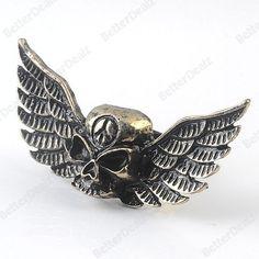 1PC Vintage Bronze Skull & Eagle's Wing Punk Finger Ring Gothic Fashion Korean