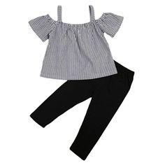 d8efc609a Amazon.com: BiggerStore Kids Toddler Baby Girls Off Shoulder Striped  T-shirt Tops