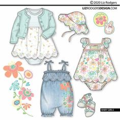 Baby Girl Fashion, Kids Fashion, Fashion Design, Fashion Trends, Online Portfolio, Portfolio Design, Invitation Card Design, Drawing Clothes, Summer Baby