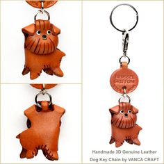 Brussel Griffon Leather Dog Keychain 【Handmade in Japan】【Dog Goods】