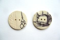 Unique focal buttons handformed from stoneware clay,fired 3 times in my kiln and glazed in a clear gloss. The images are ceramic transfers that are permanent and will not wear or wash off. The buttons measures just over 2 inches in diameter.
