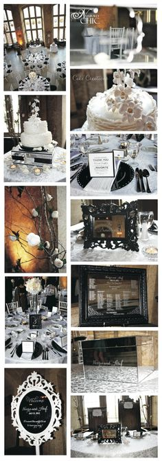 black and white wedding reception at Banff Springs #blackandwhite #weddingpalette