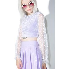 Melonhopper My Prince Will Come Crop Top (£57) ❤ liked on Polyvore featuring tops, pastel tops, white ruched top, lavender top, white tiered top and lavender crop top