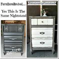furniture revival paint over paint, painted furniture, I painted this nightstand black about 4 years ago Now it has a new look
