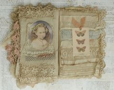 Mixed Media Fabric Collage Book of Angels and Old Lace | eBay