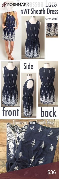 Tennessee Lace Sheath Dress- size small Oh so lovely a beautiful spin on a timelessly classic sheath dress. Fully lined, lightweight dress. Boutique Dresses Mini