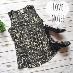 Love Notes Boutique Sleeveless Button Up ✨ ★ NWOT, in perfect condition!  ★ Really unique, interesting pattern on this tank top! Buttons up. Perfect for festival season! ✌️ Nice and flowy and light. ★ 100% Polyester.  ★ NO TRADES!  ★ YES OFFERS! ✅ ★ Measurements available by request.  Boutique Tops