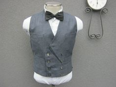 Vintage Double Breasted Vest Size 42 Large L / by BudeVintage