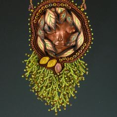 Woodland Nymph Pendant Copper Brown Olive por KateTractonDesigns