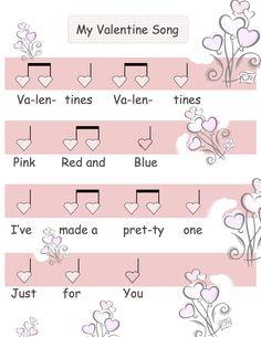 Valentine rhythm Valentine Music, Valentine Hearts, Preschool Songs, Music Activities, Music Sing, Music School, Primary Music, Piano Teaching, Music For Kids