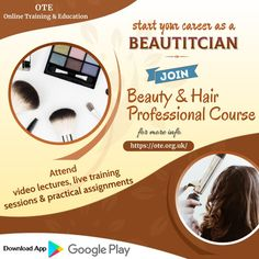Now learn different makeup styles or hair styling online without stepping out of home through video lectures, live training session, etc. Join Beauty and Hair Professional Course offered by Online Training & Education (OTE) and start your career as beautician. Course Offering, Education, Career, Hair, Training, Beauty, Live, Makeup, Reading