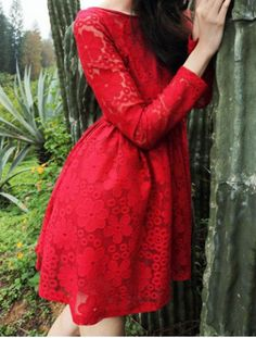 Elegant Scoop Neck Solid Color Long Sleeves Lace Dress For Women Abiti Da  Casa Con Pizzo c0802b2ea3b