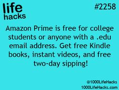 Amazon Prime free for college students or anyone with a .edu email address,
