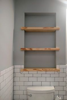 Love this for shelves above the loo if there is enough space between the studs! … Love this for shelves above the loo if there is enough space between the studs! Bad Inspiration, Bathroom Inspiration, Upstairs Bathrooms, Master Bathroom, Guest Bathrooms, Small Bathrooms, Master Bath Remodel, Bathroom Renos, Bathroom Renovations