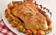 Χήνα ψητή με ζαμπόν, μήλα και φρέσκα δαμάσκηνα French Toast, Turkey, Chicken, Cooking, Breakfast, Food, Game, Kitchen, Morning Coffee