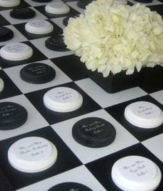 Too clever and cute!!! Checkboard place cards.
