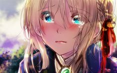 Download wallpapers Violet Evergarden, cry, manga, anime characters, portrait