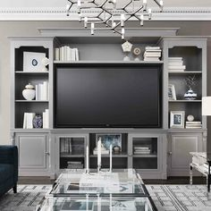 Canora Grey Wisser Entertainment Center for TVs up to 55 inches Colour: Grey Built In Wall Units, Built In Shelves Living Room, Tv Built In, Living Room Wall Units, Home Living Room, Living Room Decor, Living Spaces, Ikea Wall Units, Living Room Ideas With Tv