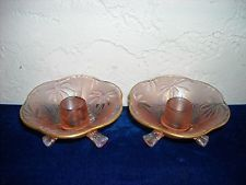 Pair of Fostoria Brocade Palm Leaf 3-Footed Candlesticks  Pink  Carnival Glass