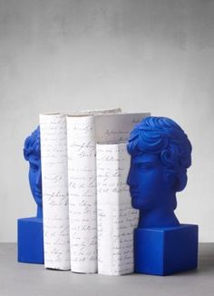 Bookends Antinous in Klein Blue #bookends #antinous #sophiaenjoythinking #eternitytoday #uniqueobjects #interiordesign