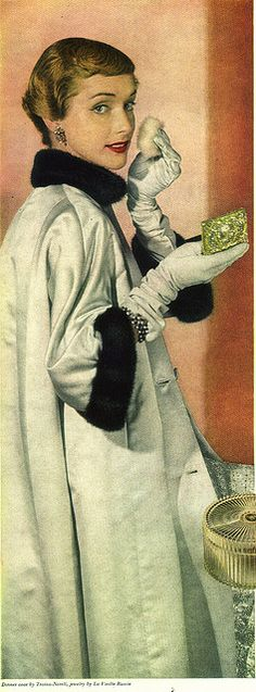 Dinner coat by Traina-Norell    Flair magazine, Feb 1950