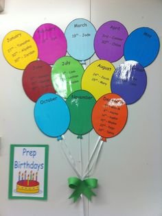 preschool classroom set up Hottest Snap Shots Birthday Balloons classroom Strategies Anniversaries tend to be enormous occasions throughout households along with you should pi Birthday Chart Classroom, Preschool Classroom Setup, Preschool Birthday, Birthday Bulletin Boards, Birthday Charts, Infant Classroom, Classroom Setting, Preschool Crafts, Classroom Decor