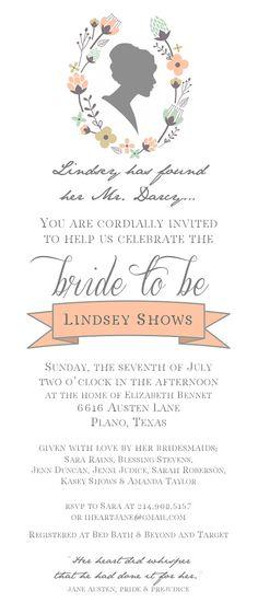 Jane Austen Pride & Prejudice Invitation by RaindropLollipops, $15.00