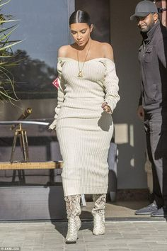 Kim Kardashian wearing Off-white Fall 2017 and Christian Louboutin Fall 2010 Pigalle Snakeskin Python Over the Knee Boot