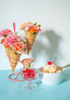 Swap out the standard vase for something more original, like ice cream cones.