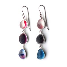 Purple shades sea glass 'multis' three drop earrings by Tania Covo