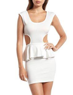 Cutout Side Tie-Back Peplum Dress: Charlotte Russe