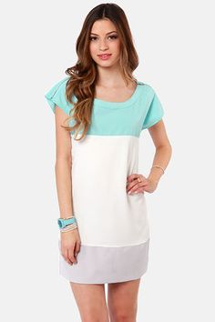 Check it out from Lulus.com! From date to desk, you'll past the test with the Flying Tri-Colors Sky Blue Color Block Dress! A casual woven sheath blocks out bands of sky blue, white, and light grey with shiny gold zippers extending from a bateau neckline to the cuffs of short cap sleeves. Exposed back zipper. White portion is lined. Model is wearing a size small. 65�0Cotton, 35�0Polyester. Hand Wash Cold. Imported.
