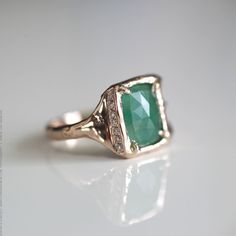 Emerald and Diamond Ring - 14 karat rose gold by Corinne Simon