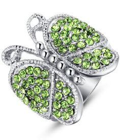 Arco Iris Jewelry – Joya hecha de acero inoxidable Anillo para mujer en forma de mariposa de tono verde