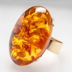 Natural Amber Cabochon Cocktail Ring | Vintage