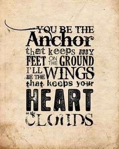 accidentally found this Mayday Parade song to use for a wedding decor quote, nautical, sailor, anchor and wings