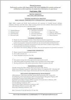 Entry Level Dental Assistant Resume | Resume Examples | Pinterest ...
